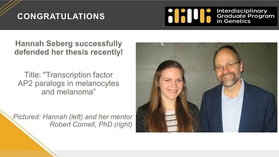 Hannah Seberg and Dr. Rob Cornell