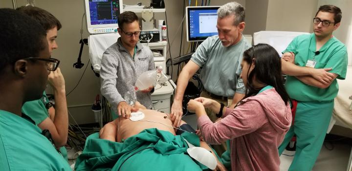 Medical students in the Anesthesia Simulation Center