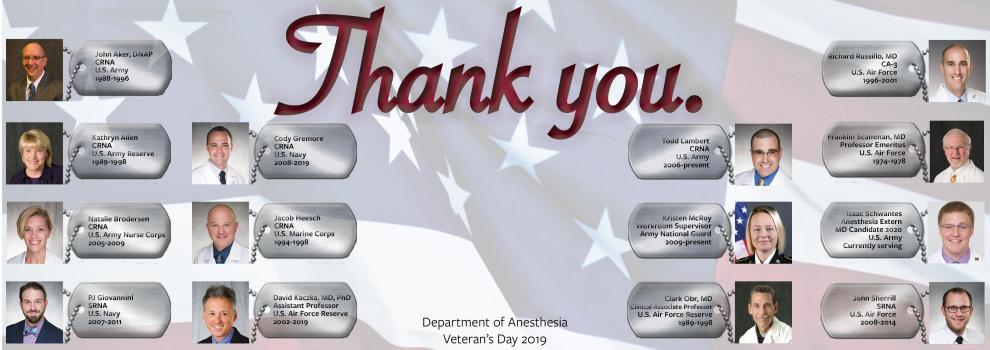 Thank you to Department of Anesthesia veterans!