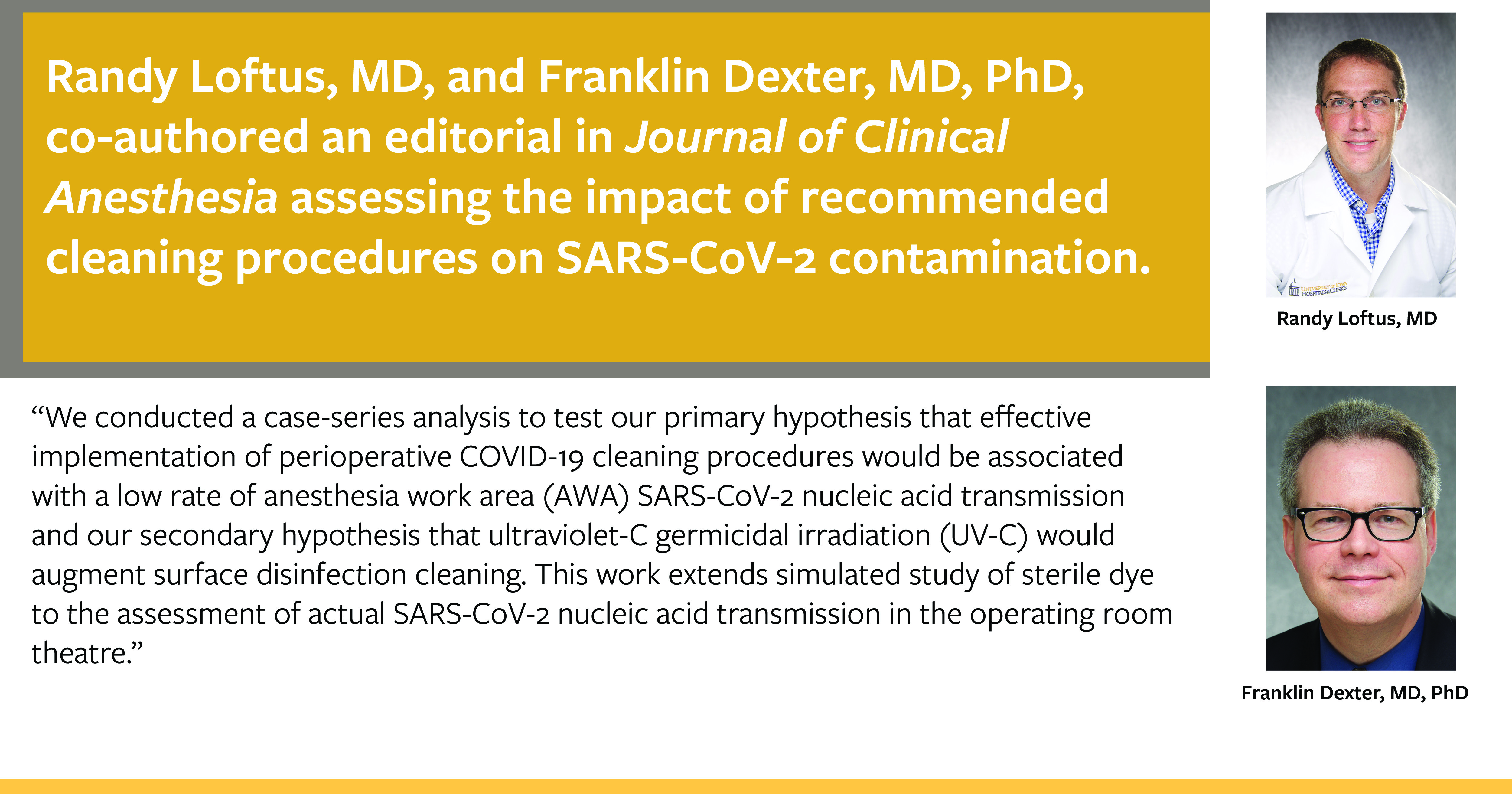 Drs. Loftus and Dexter co-authored an editorial regarding disinfecting for COVID-19