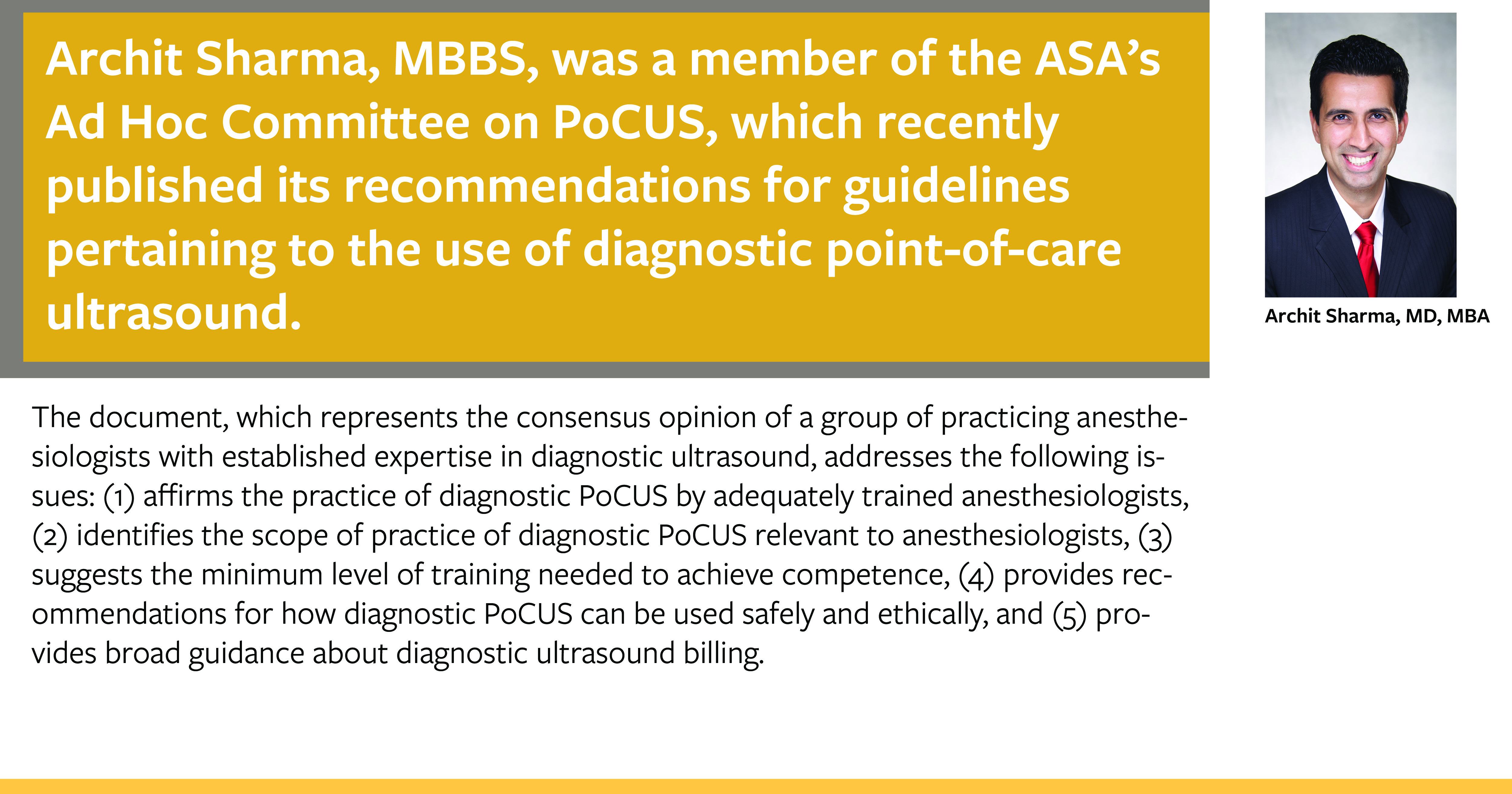 Archit Sharma, MD, MBA, co-authored new recommendations regarding PoCUS guidelines