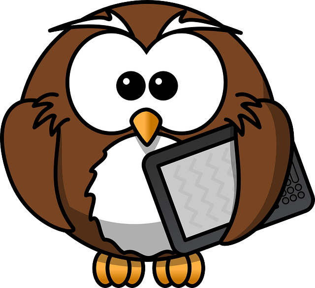 Owl with e-reader