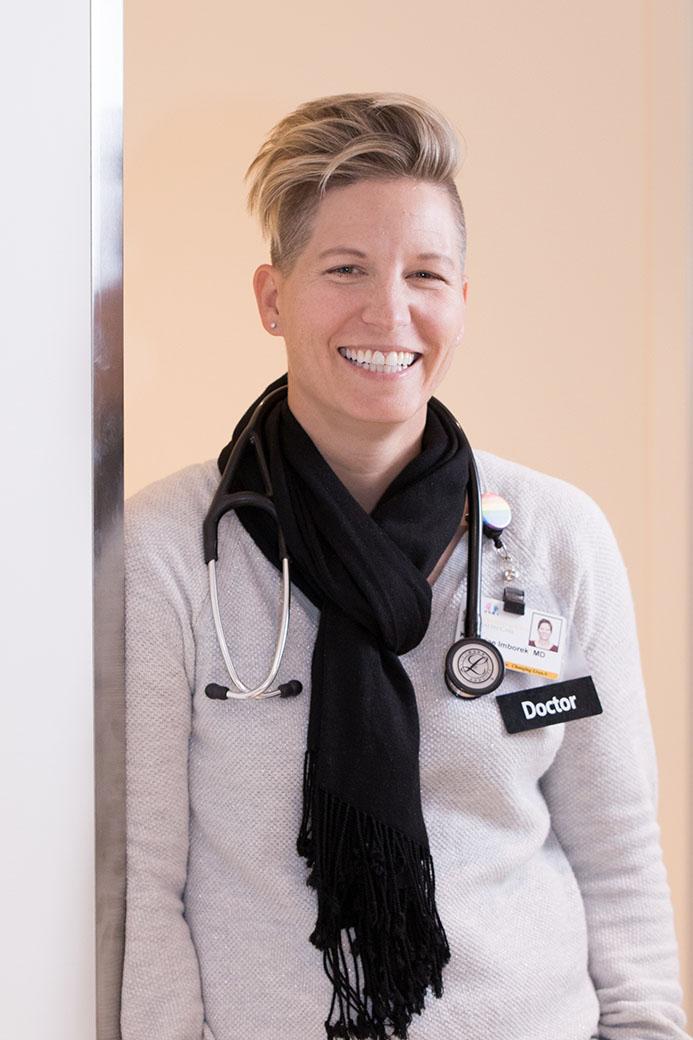Dr. Imborek poses at the Scott Boulevard clinic