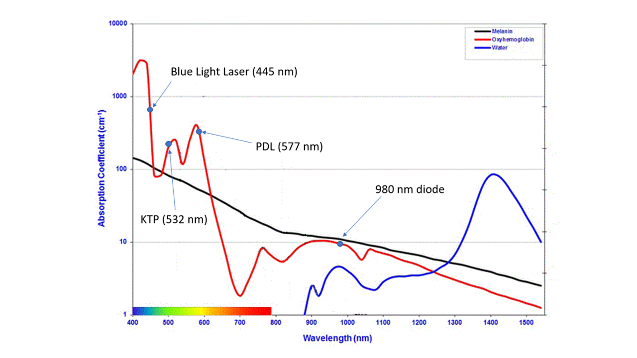 Laser Energy Absorption by Wavelength