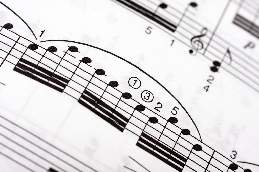 musical notes on a music sheet