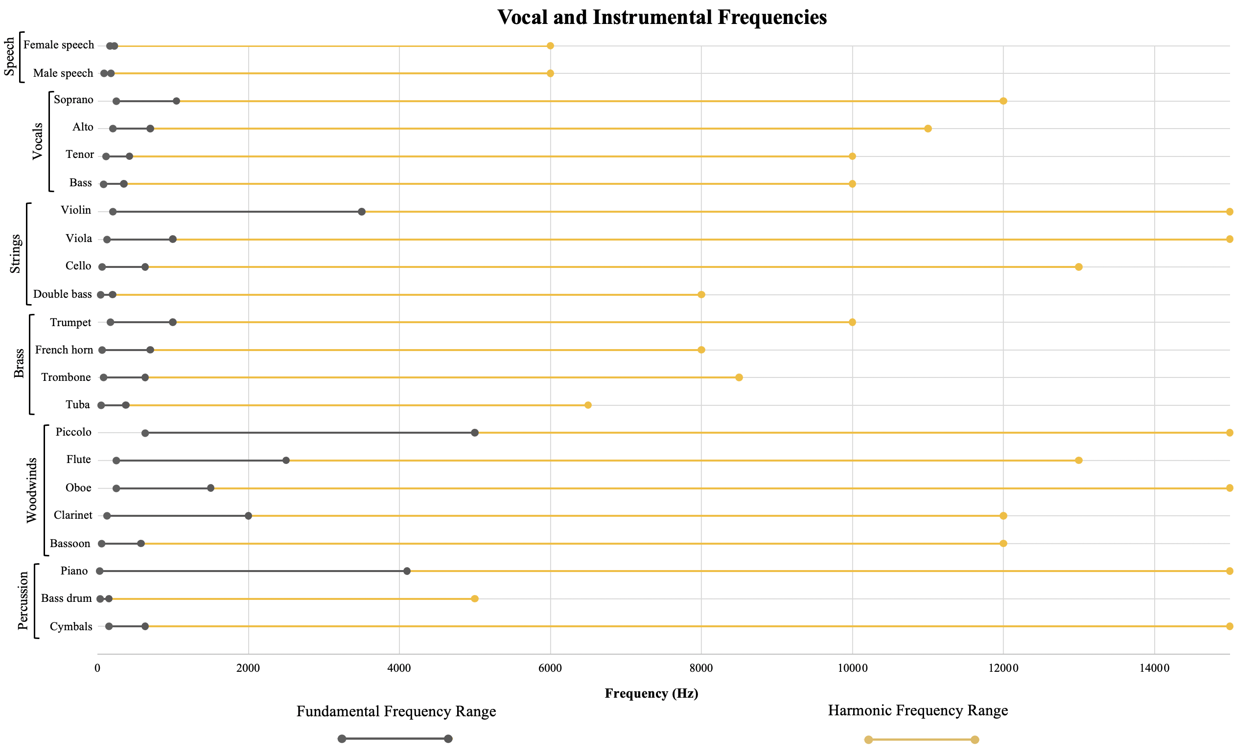 Speech and Musical Instrument Frequencies