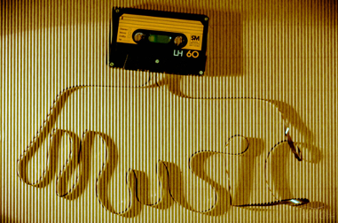 Music spelled out with tape