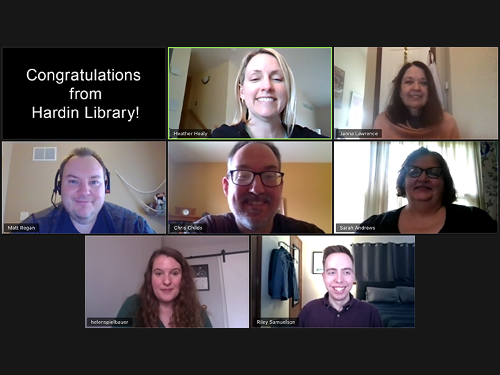 """An image of a group of people attending an online meeting, with a message """"Congratulations from Hardin Library!"""""""