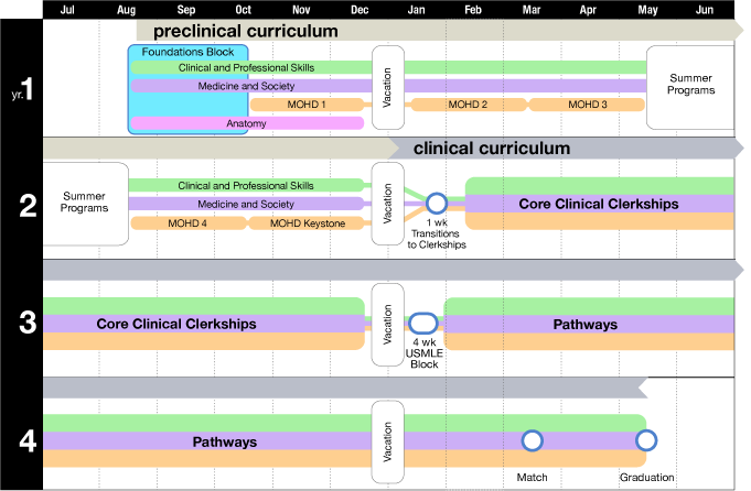 A diagram of the MD Curriculum, including strands, and approximate timing and