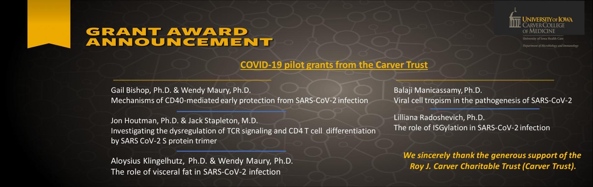 https://medicine.uiowa.edu/content/researchers-awarded-covid-19-pilot-grants-carver-trust