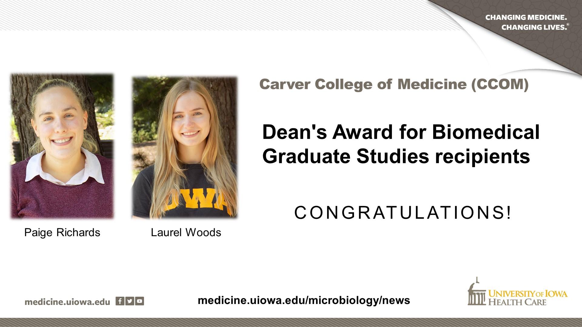 aige and Laurel Dean's Award for Biomedical Graduate Studies recipients