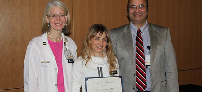 Megan Samuelson receiving teaching award