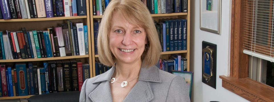 Jane Paulsen in a library