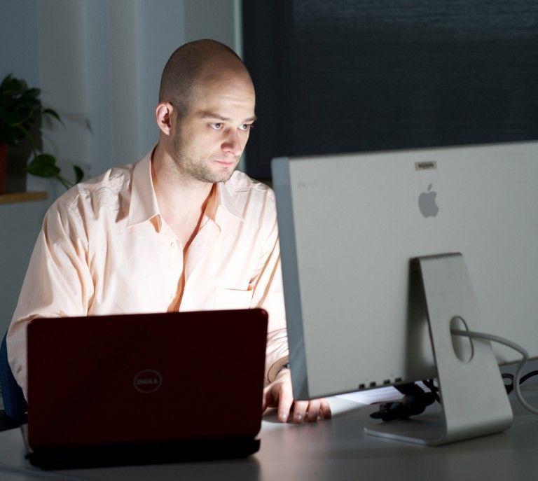 Brad Egbert at computer