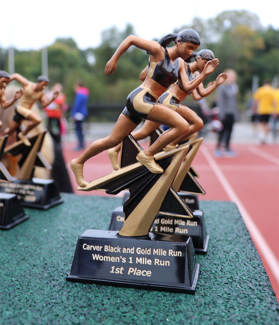 Carver Black and Gold Mile run trophies